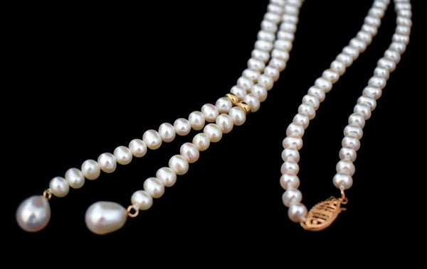 White Cultured Pearls Tassel Necklace 14k Gold Filigree Clasp - Premier Estate Gallery 2