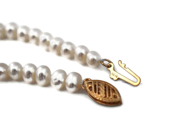 White Cultured Pearls Tassel Necklace 14k Gold Filigree Clasp