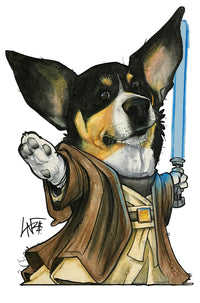star wars themed pet caricature portrait