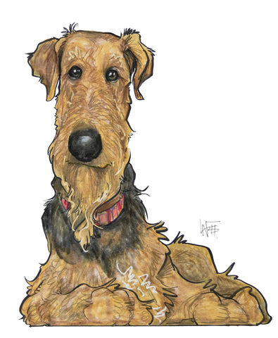 airedale terrier dog caricature pet portrait by John LaFree