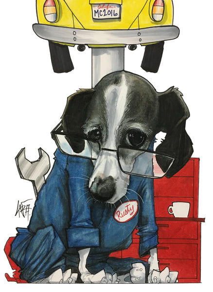 pet portrait canine caricatures by john lafree