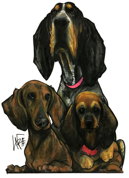 canine caricatures - Pet caricature portrait by John LaFree coonhound dachshund