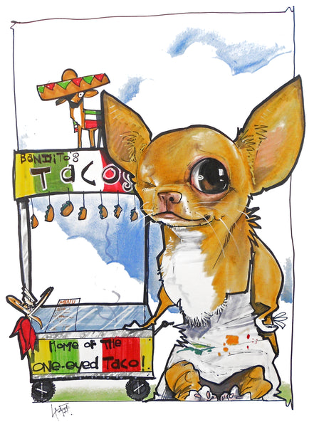 one eyed chihuahua pet portrait canine caricature john lafree