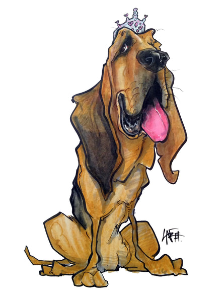 Bloodhound Pet Portrait Canine Caricature by John LaFree