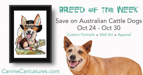 Canine Caricatures Breed of the Week - Australian Cattle Dogs