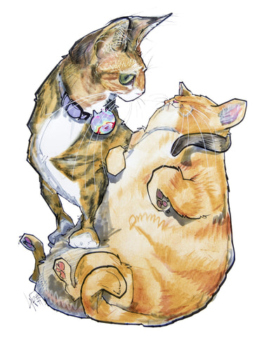 cat caricature pet portrait by john lafree