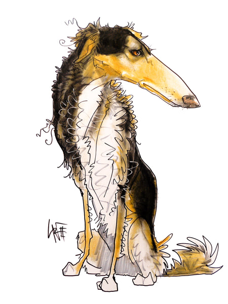 "Borzoi ""Canine Caricature"" Pet Portraits by John LaFree"