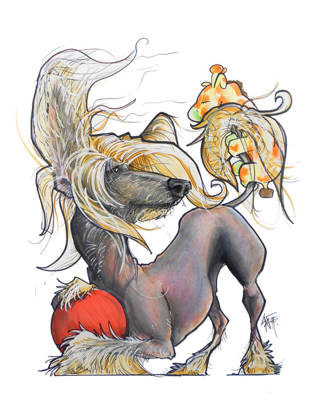 Chinese Crested Pet Portrait Canine Caricature by John LaFree