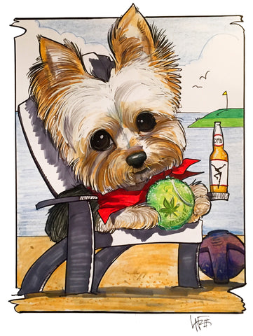 dog pet portrait canine caricature by artist John LaFree