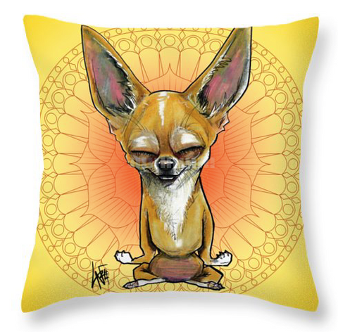 meditating chihuahua throw pillow