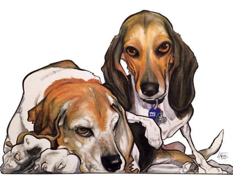 pet canine caricature portrait illustration by artist John LaFree