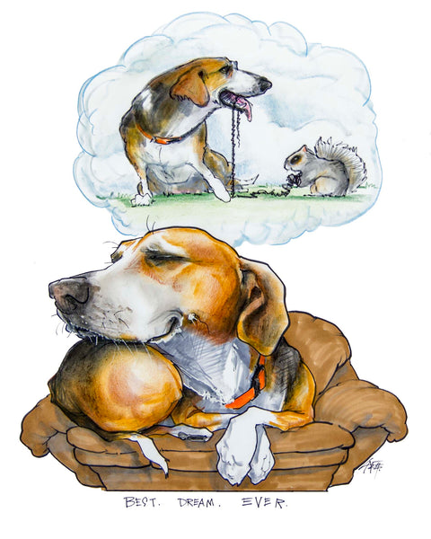 "Beagle ""Canine Caricature"" Pet Portraits by John LaFree"