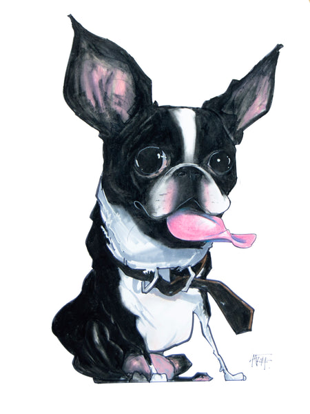 "Boston Terrier ""Canine Caricature"" Pet Portraits by John LaFree."