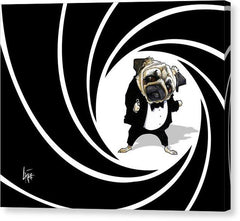 James Bond Pug collection by Canine Caricatures John LaFree