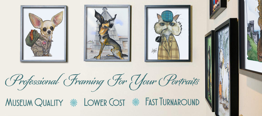 Canine Caricatures pet portraits framed gallery