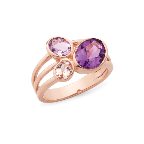 9ct rose gold scattered gemstones ring