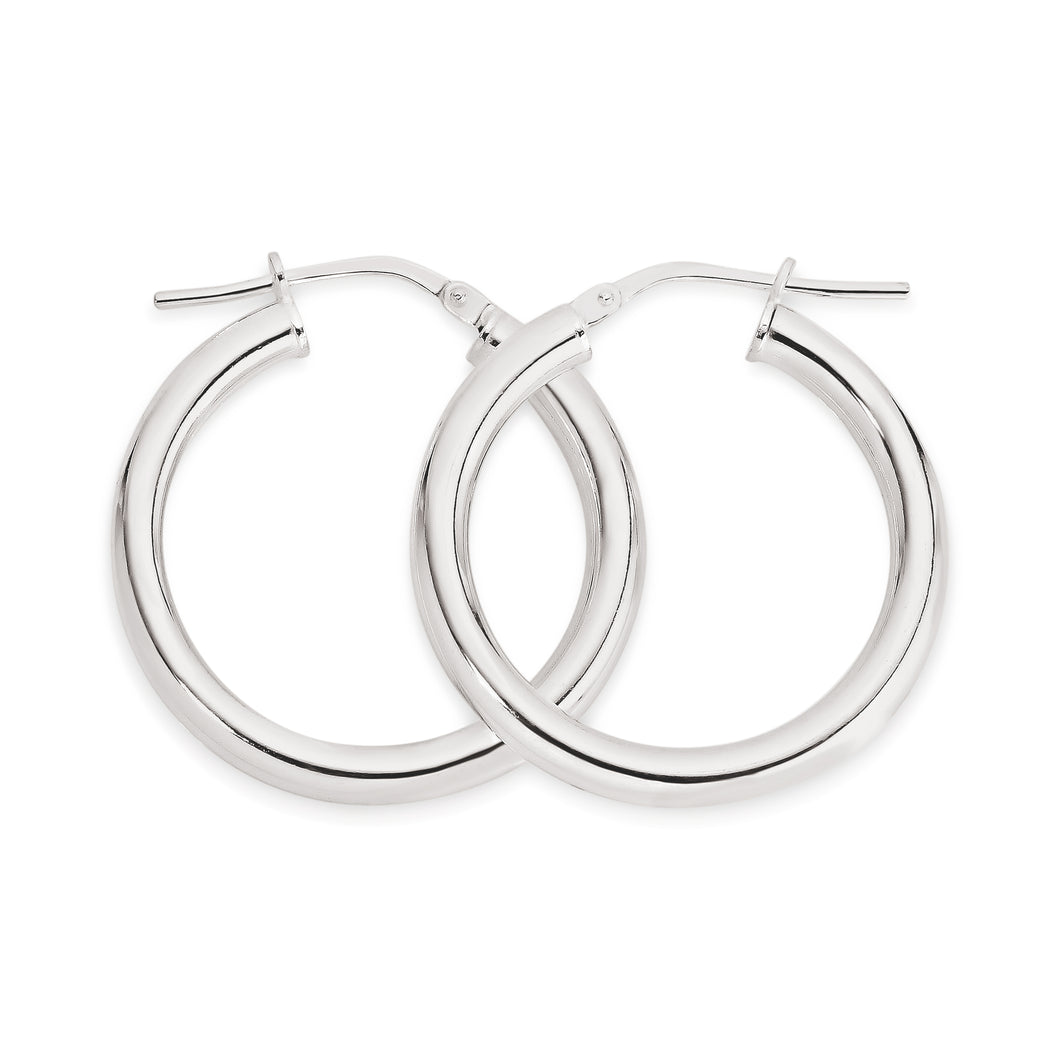 Silver polished hoops 20mm
