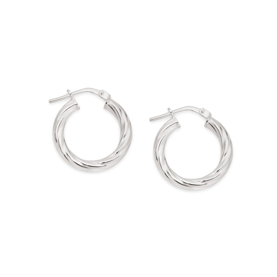 Silver twist hoops 12mm