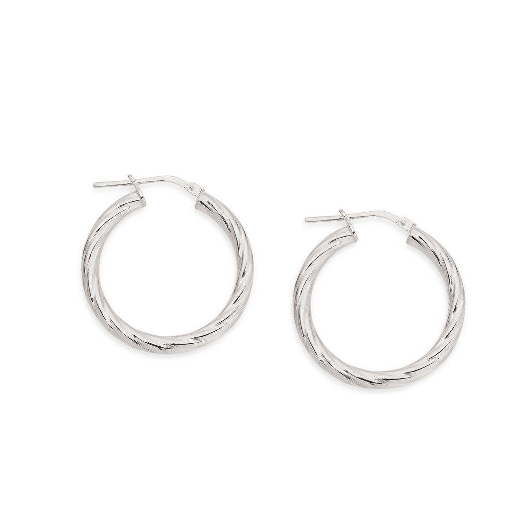 Silver twist hoops 20mm