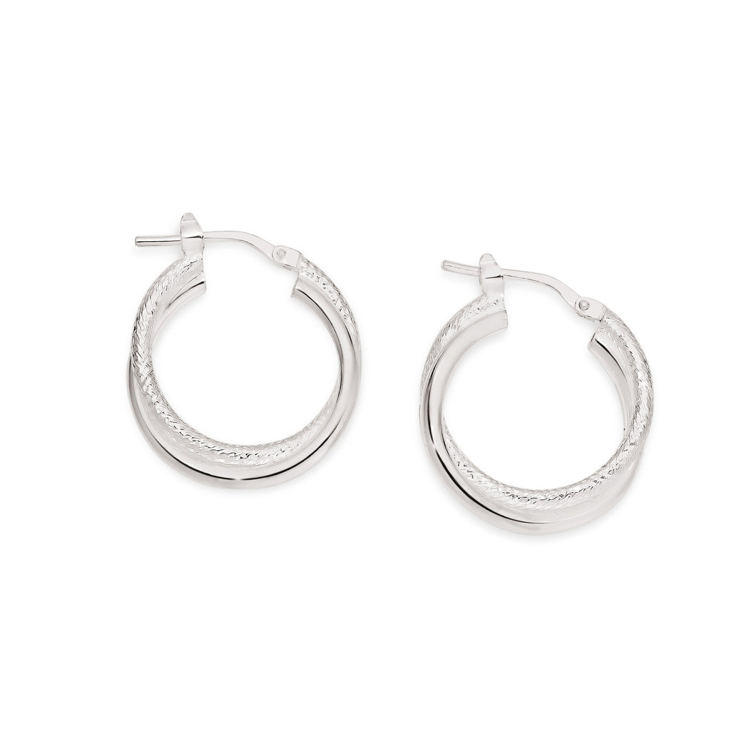 Silver double tube polished & textured hoops 15mm