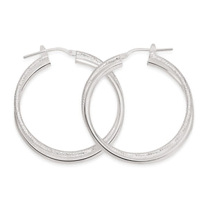 Silver double tube polished & textured hoops 30mm