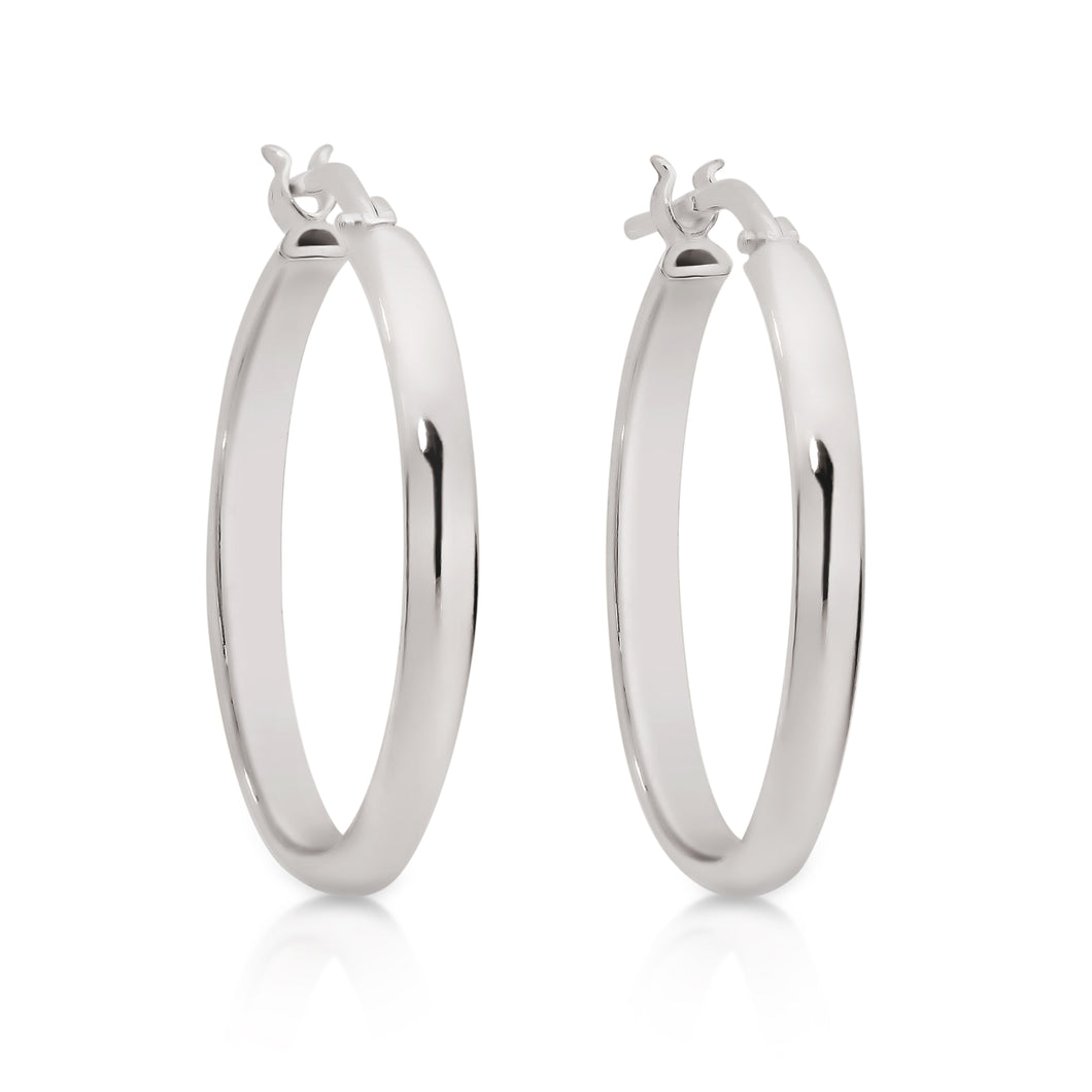 Silver half round polished hoops 20mm