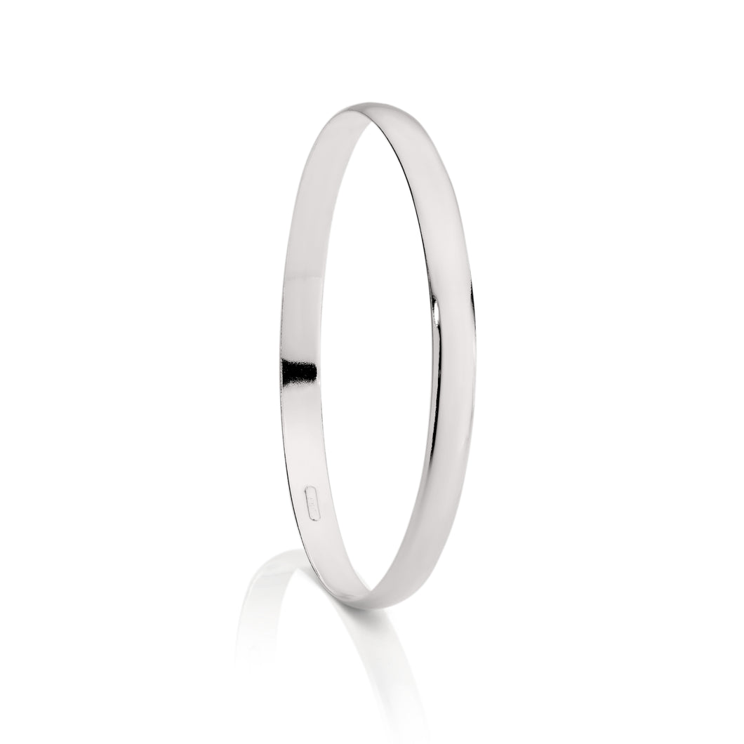 Silver 6mm solid bangle 65mm