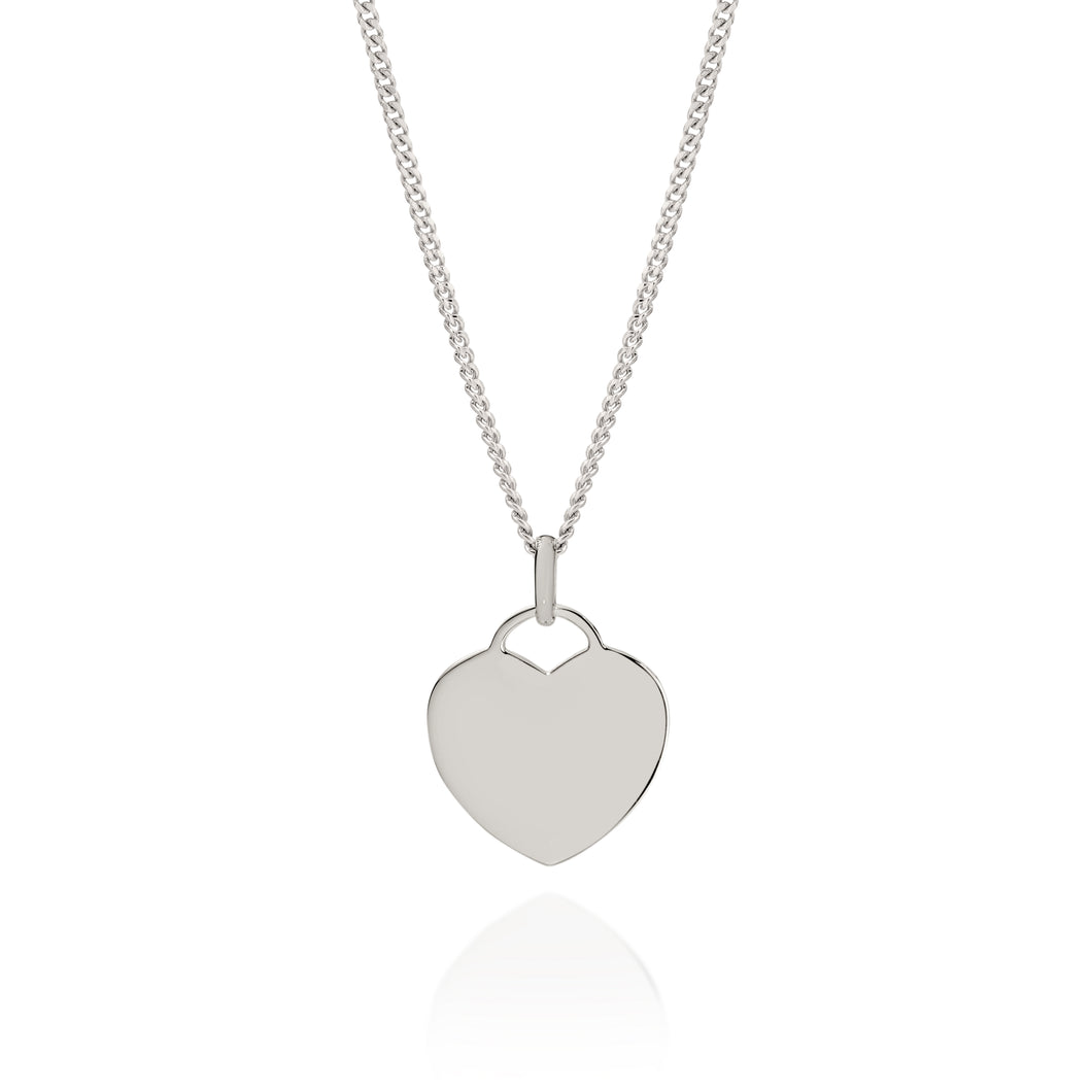 Silver engravable heart disc pendant