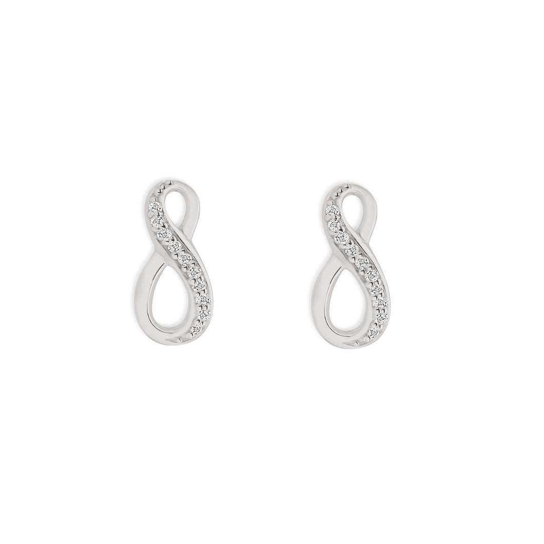 Silver cubic zirconia infinity studs