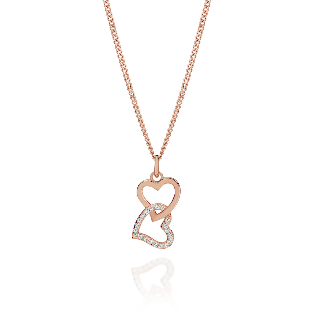 Silver rose gold plated heart pendant