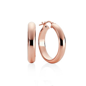Silver rose gold plated half round hoops 20mm