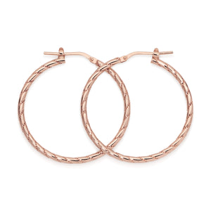 Silver rose gold plated line pattern hoops 30mm