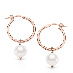 Silver rose gold plated pearl hoops 15mm