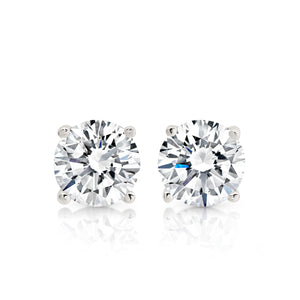 Silver round cubic zirconia studs 5mm