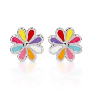 Silver multicolour flower studs