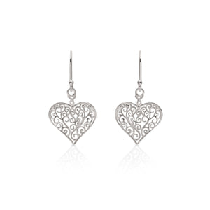 Silver filigree heart drops