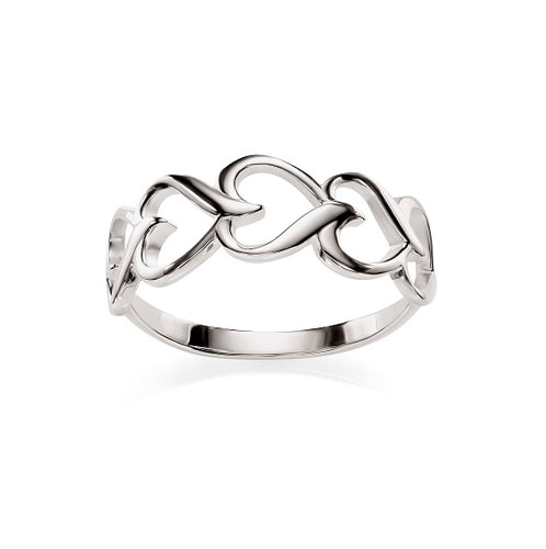 Silver hearts ring