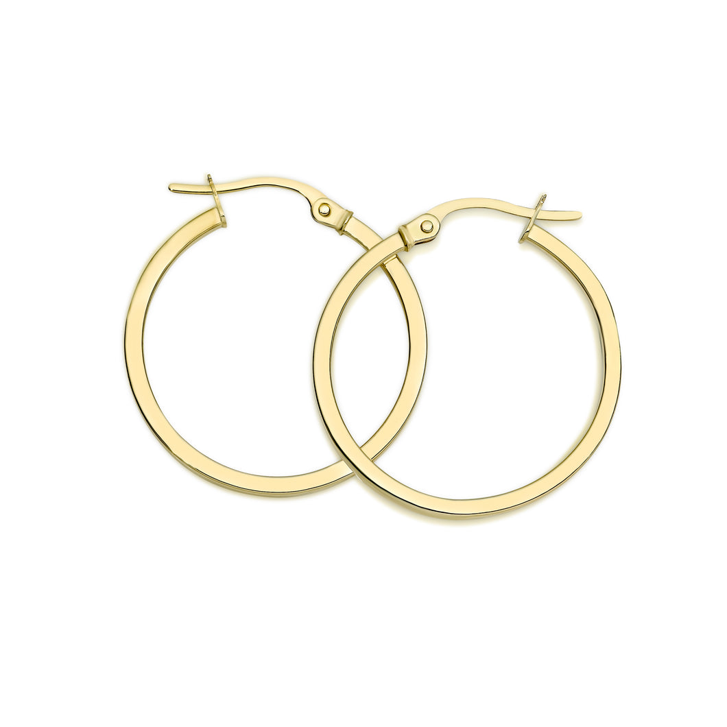 9ct gold square tube hoops 20mm