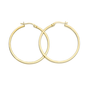9ct gold square tube hoops 30mm