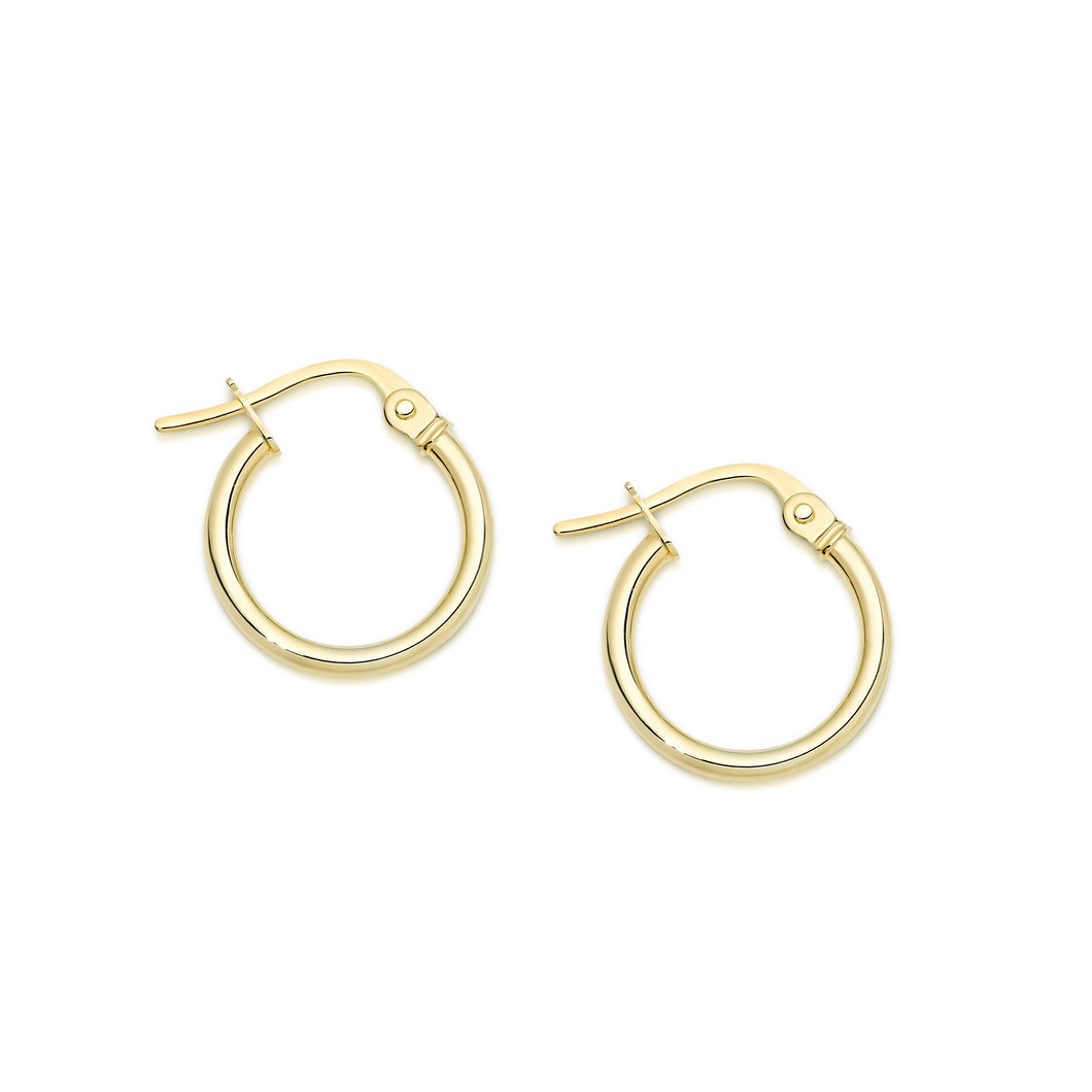 9ct gold polished hoops 10mm