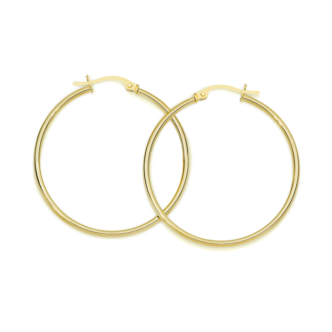 9ct gold polished hoops 30mm