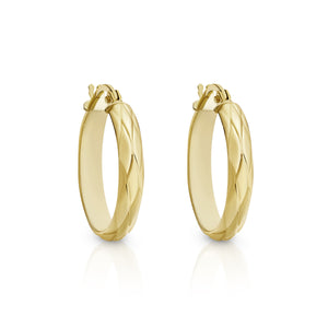 9ct gold engraved hoops 15mm