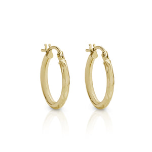 9ct gold diamond cut hoops 10mm
