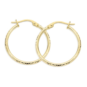 9ct gold diamond cut hoops 15mm