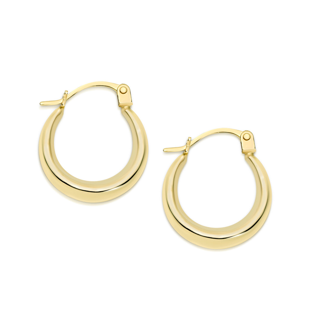 9ct gold tapered hoops 10mm