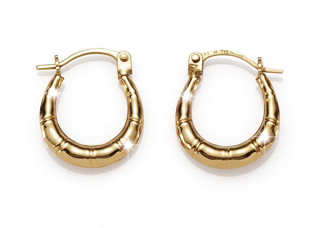 9ct gold bamboo hoops 10mm