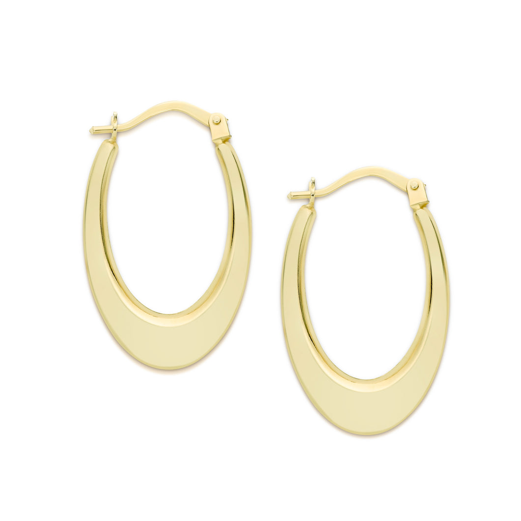 9ct gold oval hoops 12x17mm