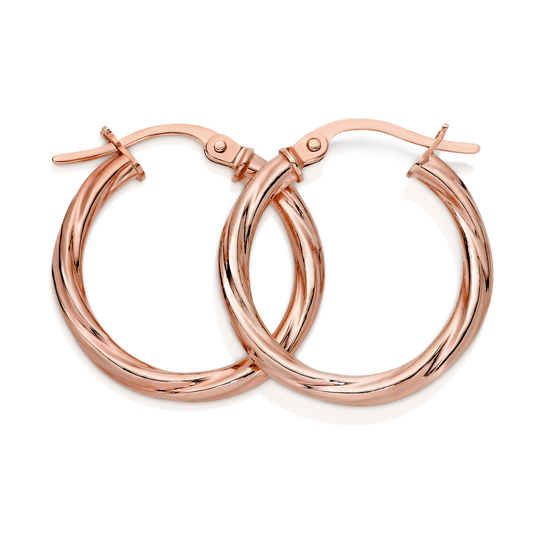 9ct rose gold twist hoops 15mm
