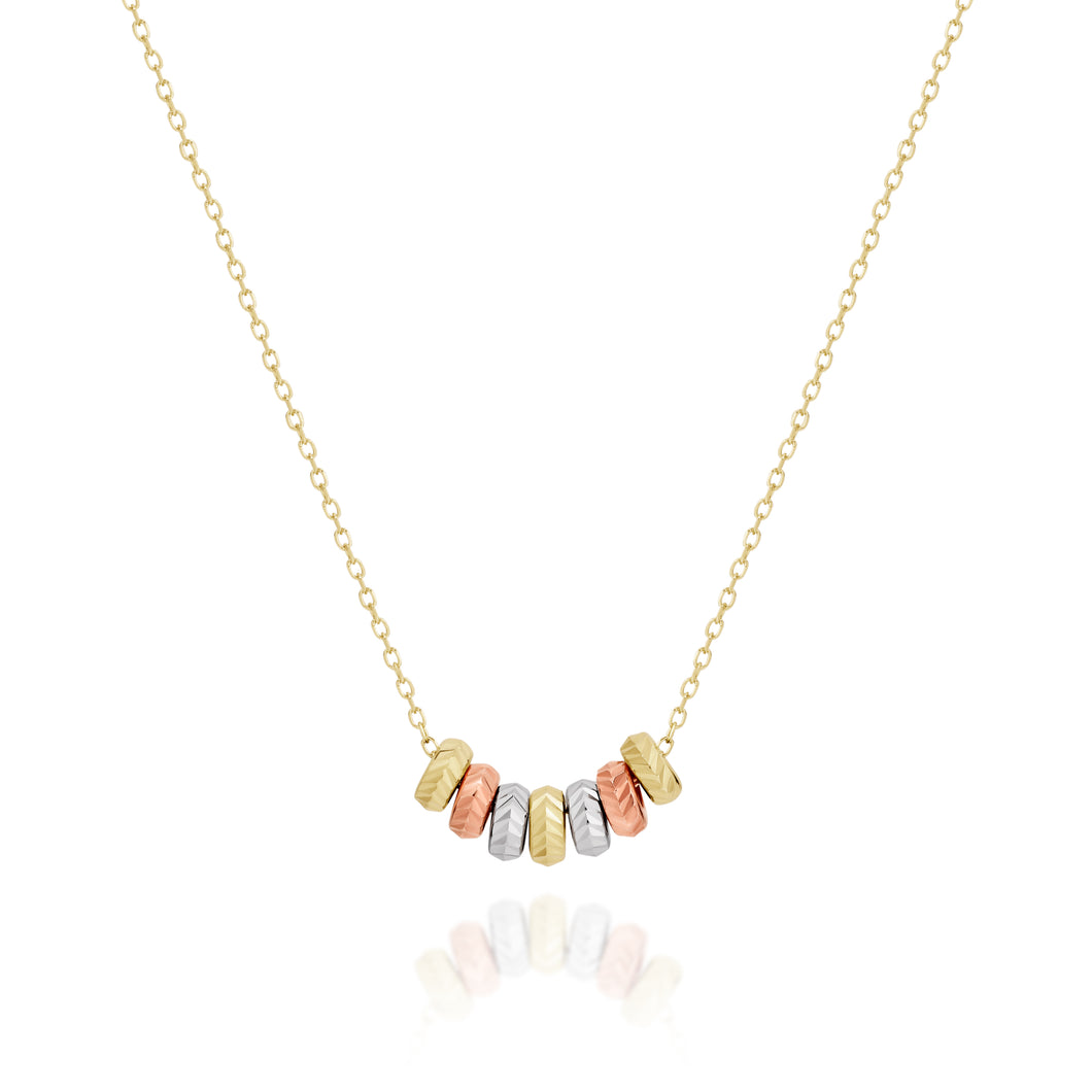 9ct gold 7 lucky rings necklace 42cm