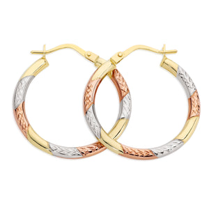 9ct gold 3 tone hoops 20mm